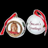 Bílá Vánoční koule s vlastní fotografií