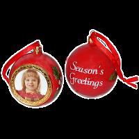 Červená Vánoční koule s vlastní fotografií