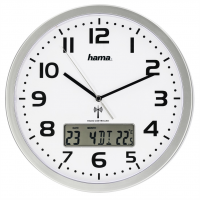 Hama Extra, nástěnné hodiny řízené rádiovým signálem, s datem a teplotou