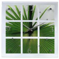 Nástěnné hodiny Palm Leaf, skleněné