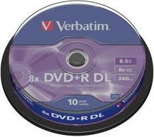 Verbatim DVD+R DL 8,5GB 8x, cakebox, 10ks
